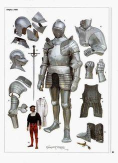 Knight, Illustrated by Graham Turner English Medieval Knight Armadura Medieval, Fantasy Armor, Fantasy Weapons, Medieval Armor, Medieval Fantasy, English Knights, Armor Clothing, Templer, Landsknecht