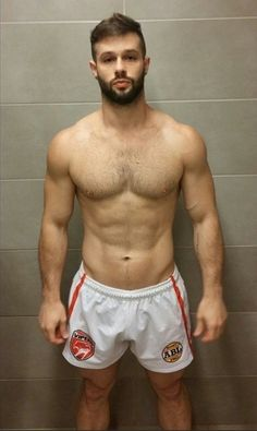white shorts and a beard