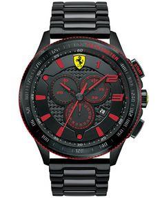 Scuderia Ferrari Men's Chronograph Scuderia Black Ion-Plated Steel Bracelet…