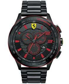 Scuderia Ferrari Men's Chronograph Scuderia Black Ion-Plated Steel Bracelet Watch 48mm 830142 - Men's Watches - Jewelry & Watches - Macy's
