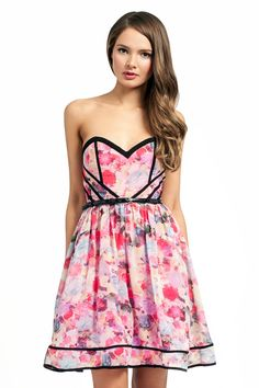 Little Mistress Pink Bandeau Floral Corset Bustier Party Dress (£48) - Love the top part, think the contrast of the structured lines and flowery material look really cool but the waiste feels a little too high and the skirt a bit too poofy?