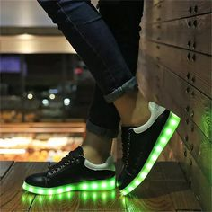 Fashion 11 Colors LED Men Shoes 20167 Autumn Winter High Top Growing Shoes For male Luminous Shoes White / Black Light Up Shoes