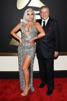 Lady Gaga and Tony Bennett - Grammys 2015 Grammy Fashion, Fashion Tv, Nicki Minaj Pictures, Nice Dresses, Prom Dresses, Tony Bennett, High Fashion Looks, Red Carpet Looks, Lady Gaga