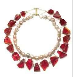 Philip Sajet- Necklace - pearls, glass, gold -