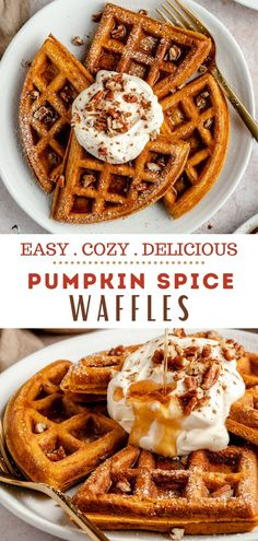 Craving fall waffles? Look no further, these homemade pumpkin waffles are the BEST! They're perfectly crisp on the outside, fluffy on the inside, filled with warm spices and loaded with delicious pumpkin flavor! I'm a major fan of waffles! Have you tried my protein waffles? I have one almost every single day! My banana oat waffles are major favorites too, but when it's pumpkin season, I'm all about this easy pumpkin waffle recipe!