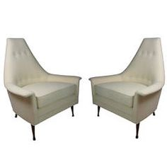 Pair of Italian Style Vintage Mid-Century Lounge Chairs | From a unique collection of antique and modern lounge chairs at https://www.1stdibs.com/furniture/seating/lounge-chairs/