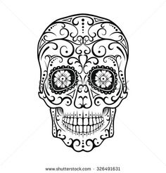 Black and White tattoo Skull. Day Of The Dead Candy Skull. Mexican Dia de
