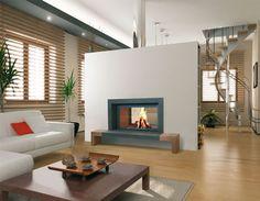Cheminée Ackro en granit noir et chêne, double-face, foyer Stuv 21-125
