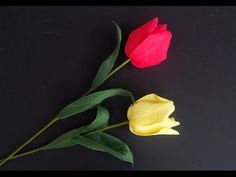 Tulip flower with crepe paper - craft tutorial - YouTube