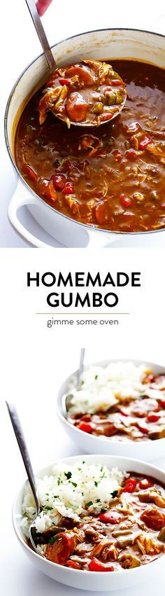 My All-Time Favorite Gumbo Recipe -- made with chicken and andouille sausage, lots of veggies, and absolutely delicious!! Creole Recipes, Cajun Recipes, Seafood Recipes, Soup Recipes, Chicken Recipes, Gumbo Recipes, Haitian Recipes, Easy Recipes, Slow Cooker Recipes