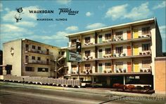 ecard waukegan | Downtown TraveLodge Waukegan Illinois Waukegan Illinois, Hotel Motel, Back In The Day, The Past, Multi Story Building, Chrome, Mansions, House Styles, City