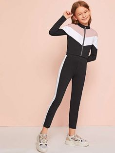 Girls Zip Up Color Block Jacket & Leggings Set Teenage Girl Outfits, Kids Outfits Girls, Dresses Kids Girl, Girls Fashion Clothes, Tween Fashion, Teen Fashion Outfits, Girl Fashion, Really Cute Outfits, Cute Comfy Outfits