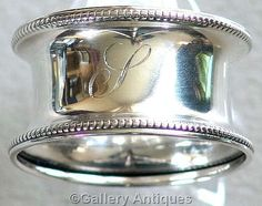 Antique 925 Solid Sterling Silver Circular Beaded Napkin / Serviette Ring by Rolason Brothers, Hallmarked for Birmingham, 1919 (ref: 3143)