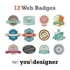 Vector Art Free Download – 12 Web Badges