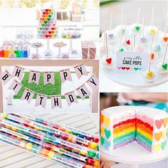 A Rainbow-Heart Party: Kim Stoegbauer of The TomKat Studio has thrown some of our favorite kid parties ever. For her daughter Kate's sixth birthday, she celebrated the milestone with a party that was all about the tot's two favorite things: rainbows and hearts!  Kim incorporated the theme throughout the outdoor party with sweet treats, including an amazing cake featuring rainbows inside and out, balloons, clever rainbow-colored drinks, and pool-perfect decor. Keep reading for all of the fun…