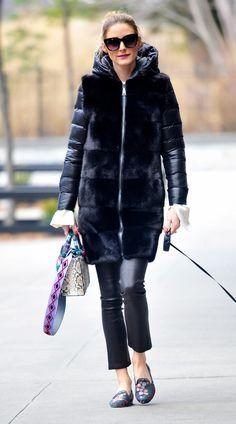 Olivia Palermo Leather Skinny Jeans