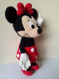 """Minnie Mouse 9"""" - Handmade crochet doll birthday gift, Baby shower toy"""