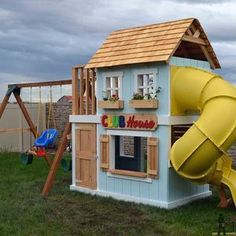 Check out this project on RYOBI Nation - A DIY play set is the perfect solution for hours of summer fun for the kids.  This club house play set boasts a super fun turbo tube slide, swings, climbing wall and play area.  Since it's DIY, you can customize it for the look you want.