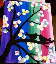 """acrylic painting """"Love Birds""""  24 x 30 on canvas  $60"""