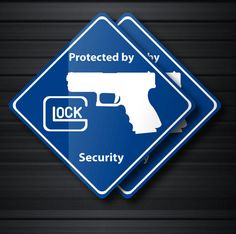 Set of 2 Glock Security Decals 17 19 20 21 22 by warningstickppl, $5.00