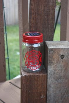Fire Department Vinyl Decal with Mason Jar Solar Lid by fsgifts, $11.99