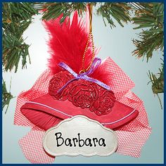 Red Hat Ornament/Magnet with Feather... like that you can personalize it with someone's name