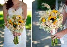 ♡ Sunflower #wedding #Bouquet with feathers ... For wedding ideas, plus how to organise an entire wedding, within any budget ... https://itunes.apple.com/us/app/the-gold-wedding-planner/id498112599?ls=1=8 ♥ THE GOLD WEDDING PLANNER iPhone App ♥ For more wedding inspiration http://pinterest.com/groomsandbrides/boards/ photo pinned with love & light, to help you plan your wedding easily ♡