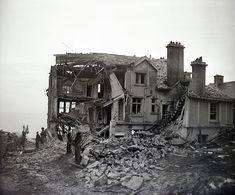 Falmouth, Cornwall. Air Raid Damage - rear view of damage in the area of Pentargan Hotel