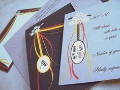 faire-part de mariage ruband dessiné  | cute ruband wedding invitation