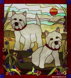 Westies dod stained glass window