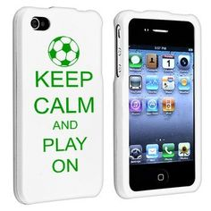 Apple iPhone 4 4S White Rubber Hard Case Snap on 2 piece Green Keep Calm and Play On Soccer by MIP INC, http://www.amazon.com/dp/B008OIXDDQ/ref=cm_sw_r_pi_dp_sS.Pqb0D0FP8P