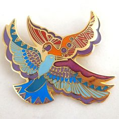 Vintage LAUREL BURCH Enamel 'Ethereal Birds' Pin