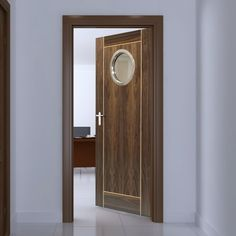 JBK Porthole 1 Vina Walnut Fire Door with Oak Inlays is Pre-Finished - 30 Minute FC , 1/2 hour fire rated, this door will provide good fire safety for your office. #officedoor #moderndoor #internalmoderndoor