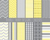 Digital paper pack INSTANT DOWNLOAD scrapbook yellow grey, Chevrons, polkadots, commercial use, printable - Alexis