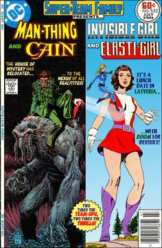 Super-Team Family: The Lost Issues!: Man-Thing and Cain / Invisible Girl and Elasti-Girl Comic Book Superheroes, Marvel Comic Books, Comic Book Heroes, Marvel Fan Art, Marvel Vs, Sci Fi Comics, Marvel Dc Comics, Gi Joe, Marvel Magazine