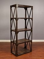 Metro Rustic Wood and Iron Tall Bookcase