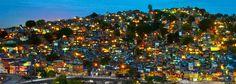 Rio De Janeiro At Night | Favela da Mangueira at night, viewed from the UERJ campus