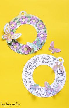 Printable Flower Wreaths - Simple Spring Craft Idea - Easy Peasy and Fun Kindergarten Crafts, Classroom Crafts, Preschool Crafts, Spring Crafts For Kids, Summer Crafts, Art For Kids, Printable Flower, Printable Crafts, K Crafts