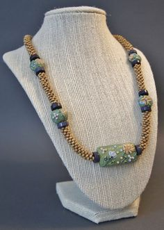 Spring Green Floral Beaded Kumihimo Necklace by JasmineTeaDesigns, $215.00