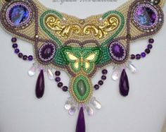 bead embroidery necklace Delicate Amethyst Green Aventurine butterfly wonder land EBEG