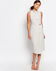 Immagine 4 di Closet - Vestito midi a portafoglio con scollo plissettato