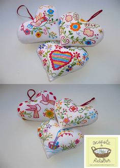 Adoro fazer corações!         Em linho com bordado dos lenços de namorados.         Em cortiça e burel com bordado de Viana do Castelo. ... Embroidery Stitches Tutorial, Felt Embroidery, Lavender Bags, Pom Pom Crafts, Heart Ornament, Polymer Clay Crafts, Felt Hearts, Felt Ornaments, Fabric Art