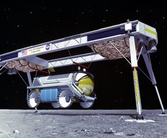 International Lunar Resources Exploration Concept (1993) | A cargo lander delivers a moonbus rover. Image: NASA | From WIRED.com