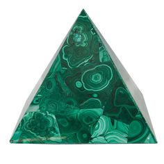 A Decorative Malachite Pyramid with Green Swirl Detailing | From a unique collection of antique and modern desk accessories at https://www.1stdibs.com/furniture/decorative-objects/desk-accessories/