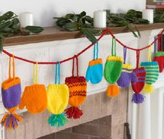 Red Heart® Hats & Mittens Garland #christmas #knit #pattern