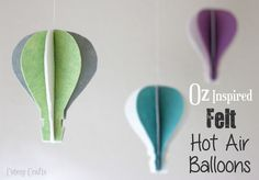 """Jessica of """"cutesy crafts"""" is a wife and stay-at-home mom of three! She has this marvelous tutorial for """"Oz Inspired Felt Hot Air Balloons"""" and it is excellent. Dollar Store Crafts, Diy Crafts To Sell, Crafts For Kids, Christmas Paper Crafts, Felt Crafts, Baby Crafts, Mason Jar Crafts, Mason Jar Diy, Balloon Crafts"""
