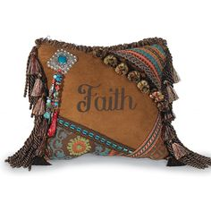 Love this pillow with tassels and fringe, ribbons and braid, beads and conchos...