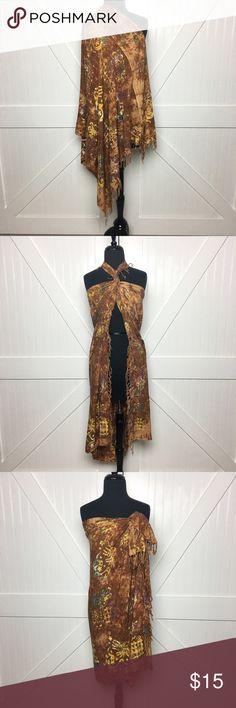 •Sarong Wrap• Beautiful rustic brown sarong• Never been used• Fringe on both ends• 🚫No Trade/PP🚫 Swim Sarongs