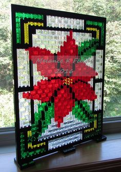 Christmas Poinsettia Stained Glass Mosaic Kit - Lego by TheMerryBeader on Etsy