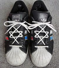 """How to tie your shoes like Moses. """"Hexagram Lacing, also referred to as Star of David Lacing. This purely decorative lacing forms a hexagram, or six pointed star. This geometric symbol has been used for centuries in various cultures and religions, most notably as the Jewish Star of David. This lacing works best with thinner or flat laces because several eyelets have to accommodate two passes of shoelace."""""""